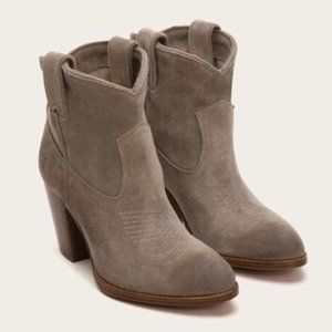 FRYE Ilana Short Gray Suede Ankle Western Boots